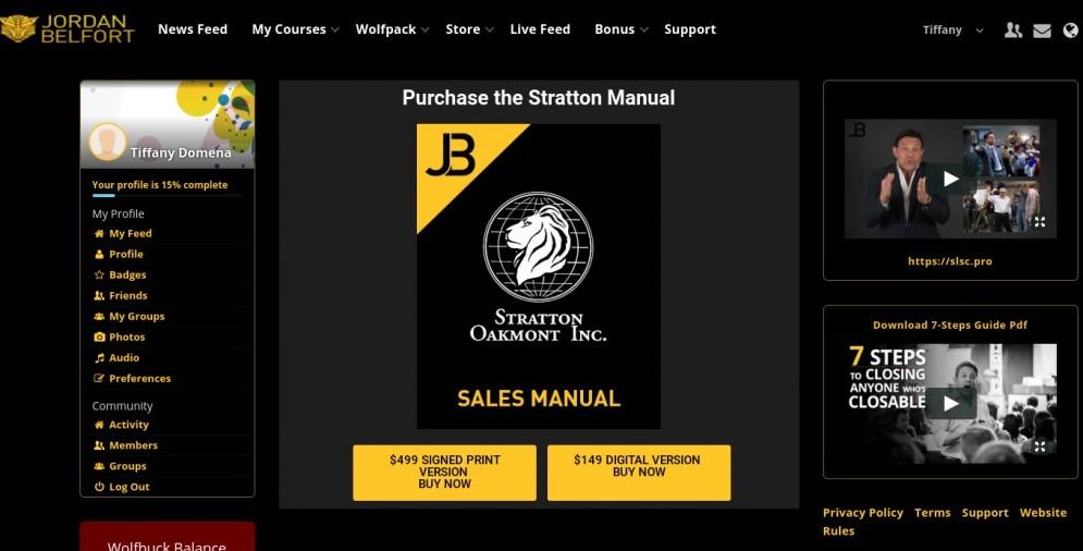 Jordan Belfort Membership Dashboard