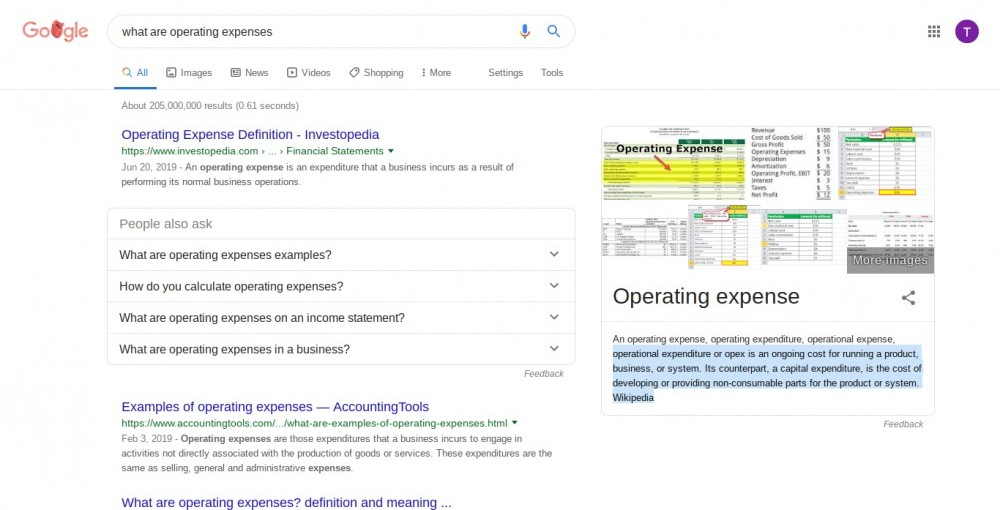 The Google search results for 'what are operating expenses?'